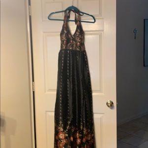 Long satiny sun dress